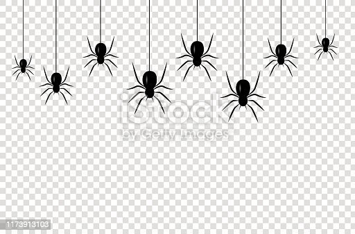 Isolated seamless pattern with hanging spiders for decoration and covering on the transparent background. Scary background for Halloween. Realistic Vector Illustration