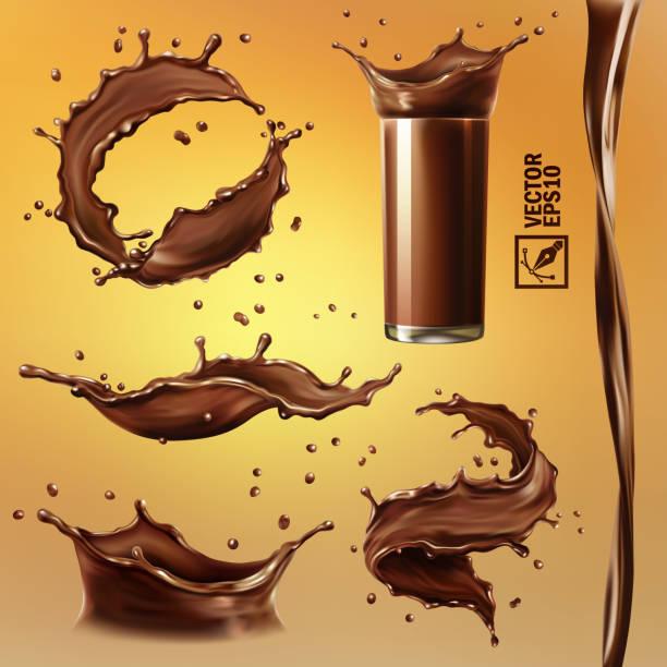 3d-realistischer isolierter vektorsatz, verschiedene spritzgüsse von schokolade, kakao oder kaffee, ein transparentes glas mit spritzer, ein fließender strom, wirbel - schokolade stock-grafiken, -clipart, -cartoons und -symbole