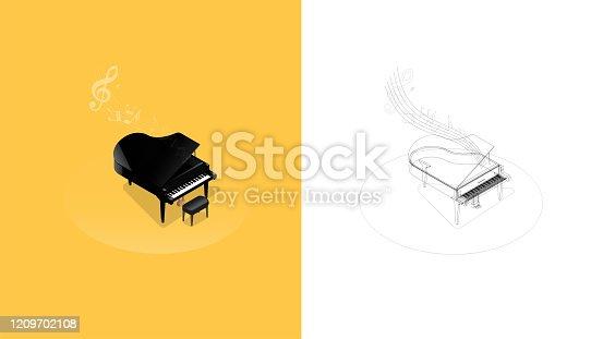 istock Realistic isometric illustration of black grand piano 1209702108