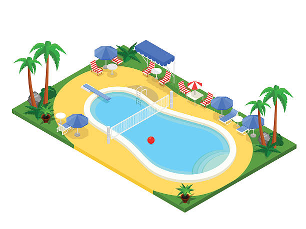 realistic isometric outdoor swimming pool. creative 3d vector illustration. - staw woda stojąca stock illustrations