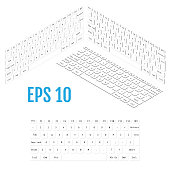 Isometric white modern laptop keyboard. Realistic isometry of modern keyboard. Vector illustration.