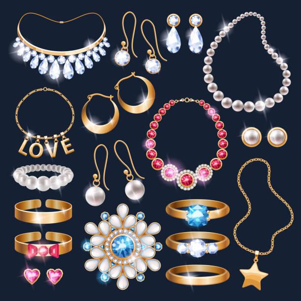 ilustraciones, imágenes clip art, dibujos animados e iconos de stock de accesorios conjunto de iconos de realista joyas - joyas