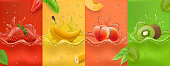 Realistic Juicy and fresh fruit. banana, strawberry, peach, kiwi, mango. Dew drops and splash. 3d vector realistic set. High quality Vector EPS 10