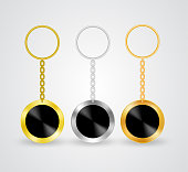 Realistic key holders, vector medal templates hanging on chain with holding ring. Silver, bronze and golden souvenir mock up for company branding, souvenirs with black empty space for symbol or logo.