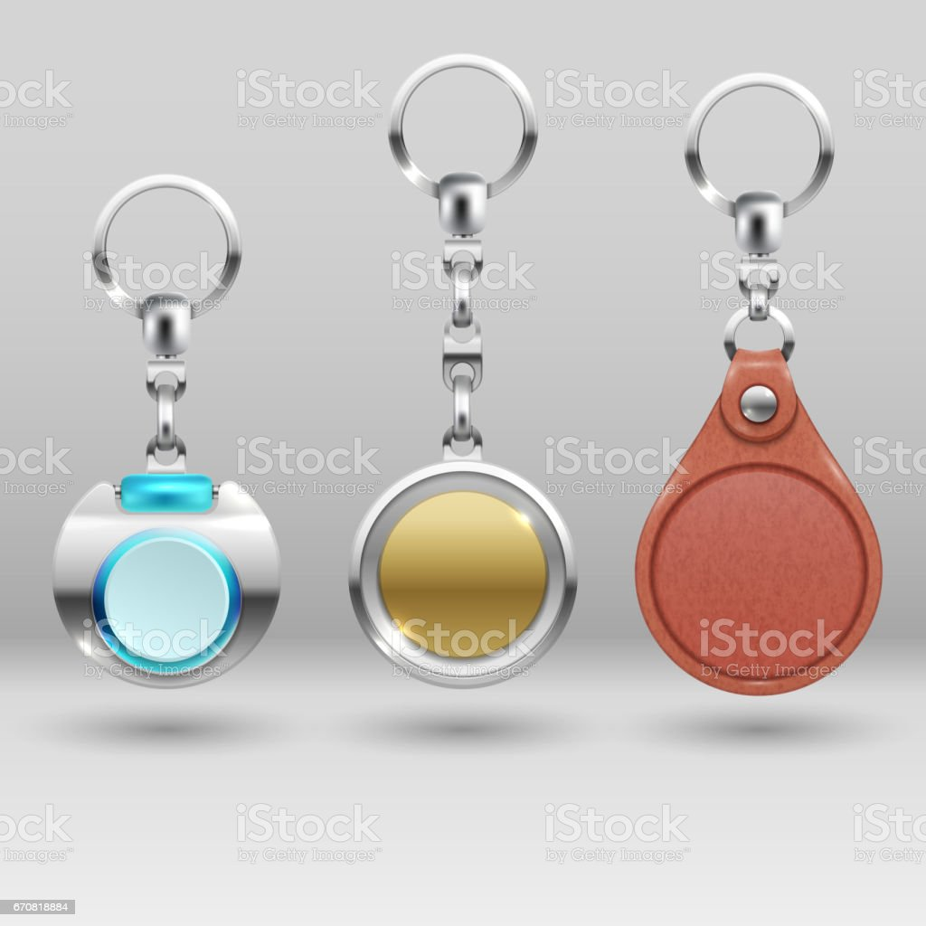 Realistic keychains. Vector car key holders set