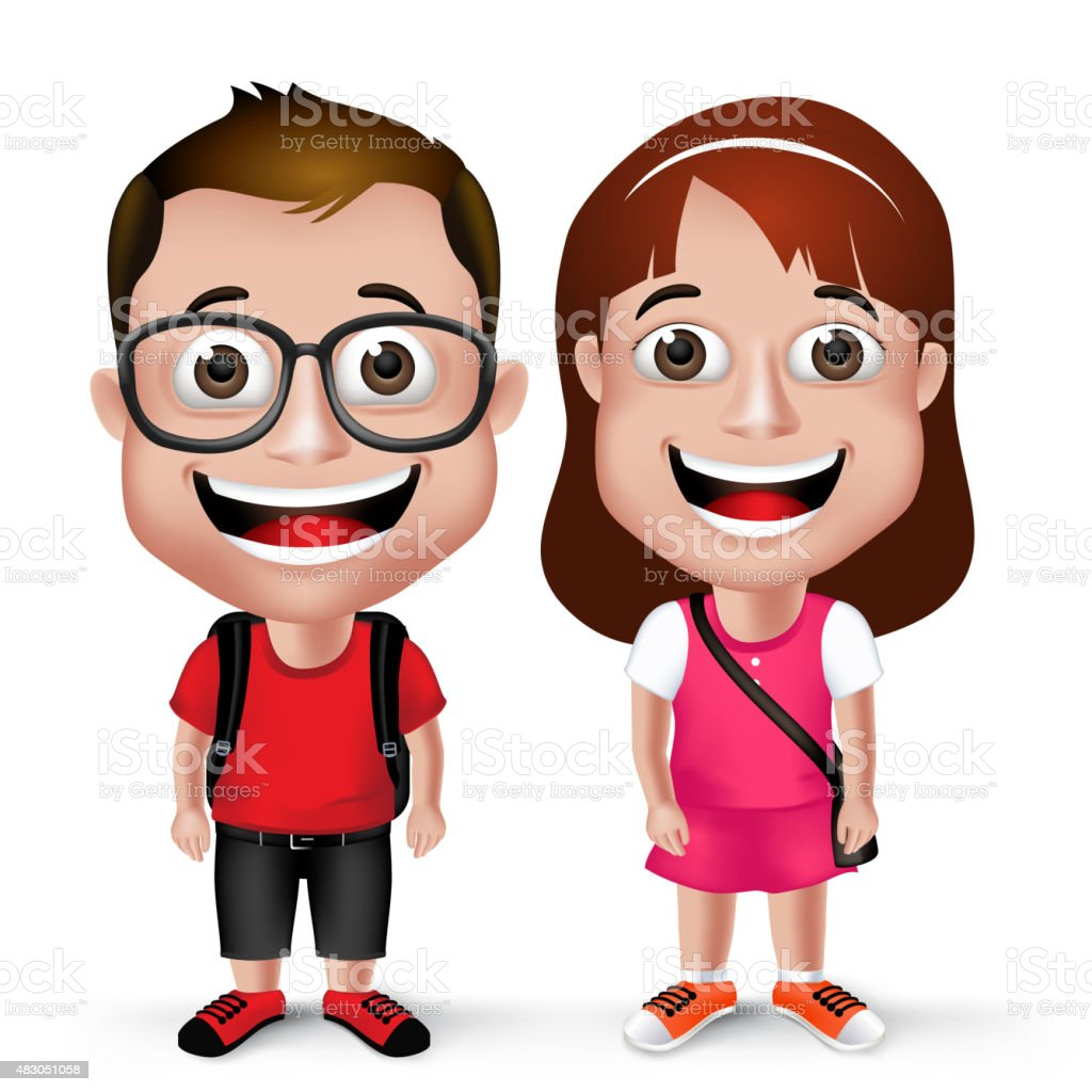 3D Realistic Kids School Boy and Girl Student Wearing Casual vector art illustration