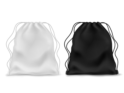 Realistic knapsack. Black white blank backpack. Sports bag, school textile rucksack, pack pouch accessory with ropes. Vector mockup