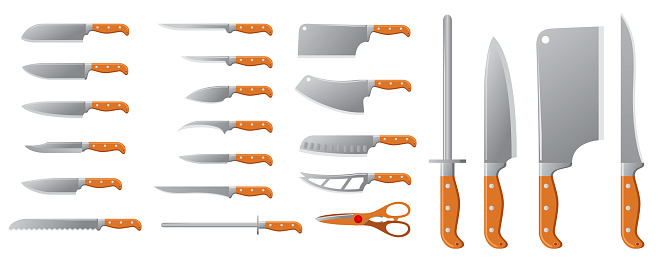 realistic knives butcher meat