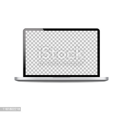 Realistic laptop mockup with open screen.Black computer laptop on isolated background.