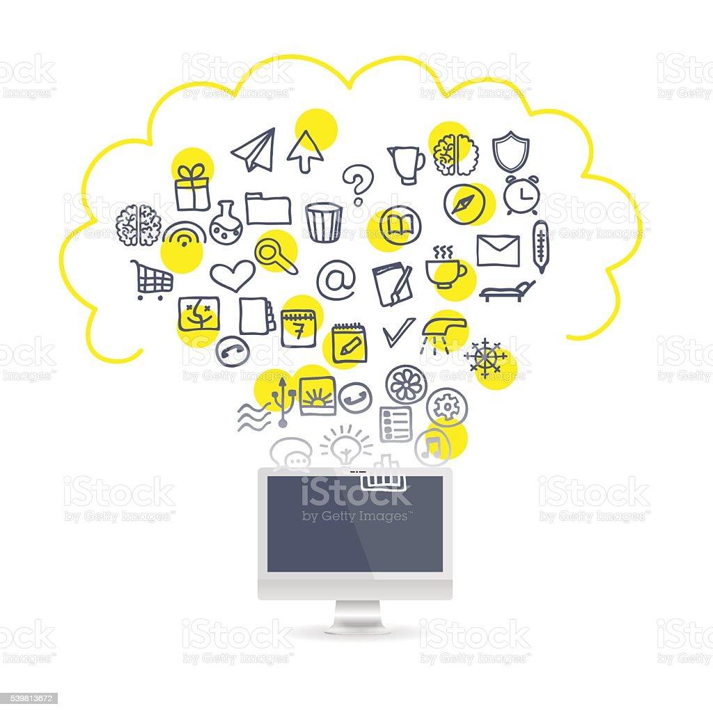 Realistic laptop set business icons vector art illustration