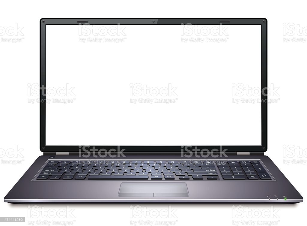 Realistic Laptop vector art illustration