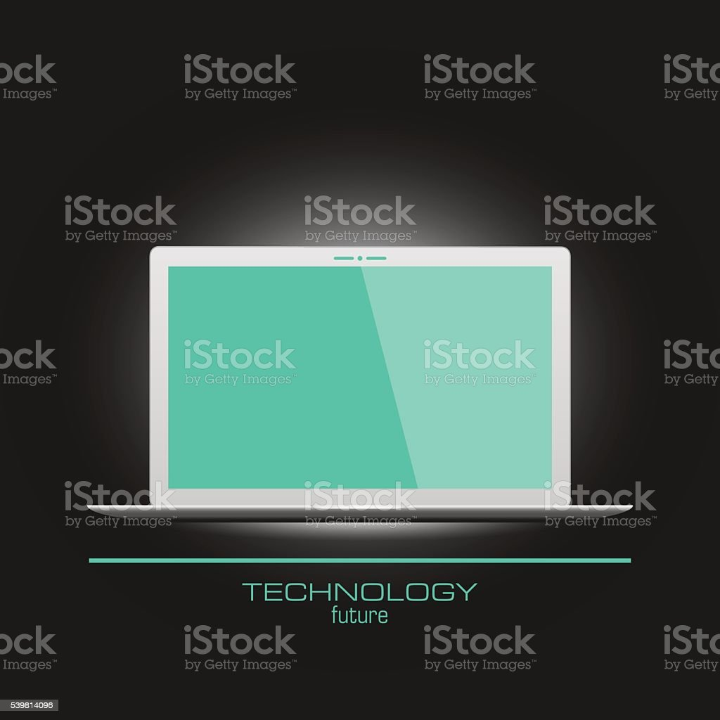 Realistic laptop with empty screen vector art illustration