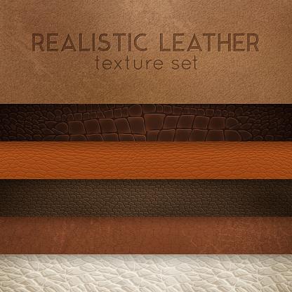 realistic leather texture horizontal set