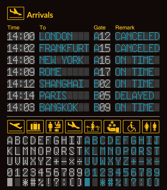 realistic led digital board airport template. vector 3d white and blue led digital font with alphabet and numbers on dark background eps. yellow airport information logo sign - kiss stock illustrations