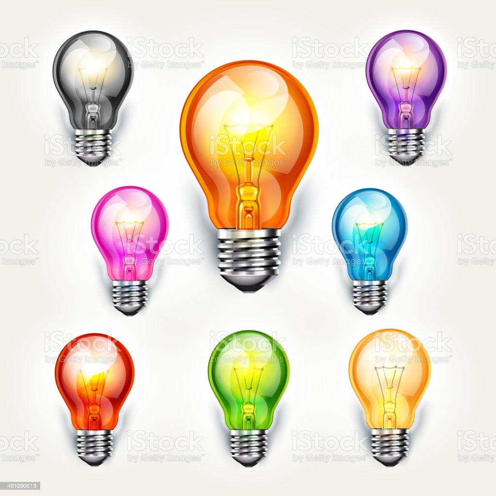 Realistische Glühbirne Farbe set. – Vektorgrafik