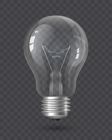 Realistic Light Bulb with transparency isolated on a checkered background. Incandescent Lamp, Glass Lamp object. Design element, clipart, symbol, icon. Electricity concept