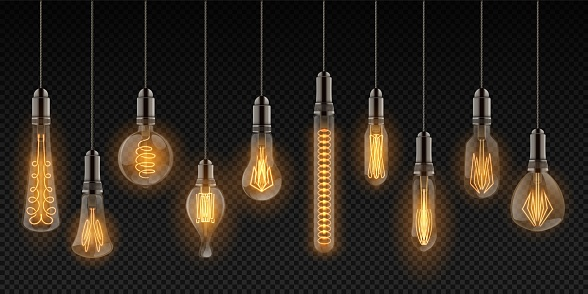 Realistic light bulbs. Vintage lamps hanging on wires, decoration glowing retro objects. Vector incandescent filament lamps set