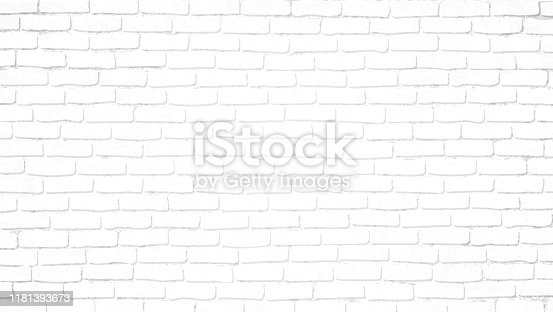 istock Realistic light white brick wall background. Distressed overlay texture of old brickwork, grunge abstract halftone pattern. Texture for template, layout, poster, fabric and different print production. 1181393673