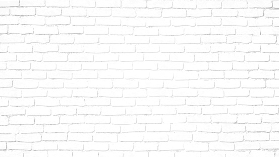 Realistic light white brick wall background. Distressed overlay texture of old brickwork, grunge abstract halftone pattern. Texture for template, layout, poster, fabric and different print production. clipart