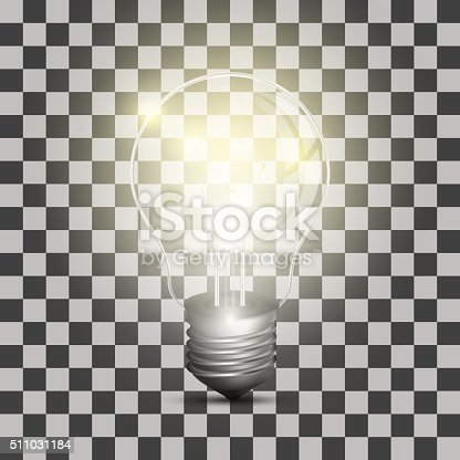 istock Realistic lightbulb on a transparent background 511031184