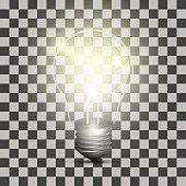 Realistic lightbulb on a transparent background