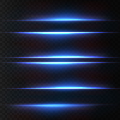 Light beams of light in neon and blue. Illuminated horizontal neon laser. Collection of light transparent realistic rays for design isolated on a transparent background. Horizontal optical lens flare. Vector illustration.