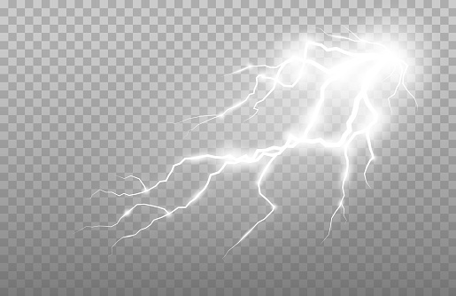 Realistic lightning and thunder strike. Electric discharge set of vector abstract illustration.