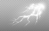 istock Realistic lightning and thunder strike. Electric discharge set of vector abstract illustration. 1255578472