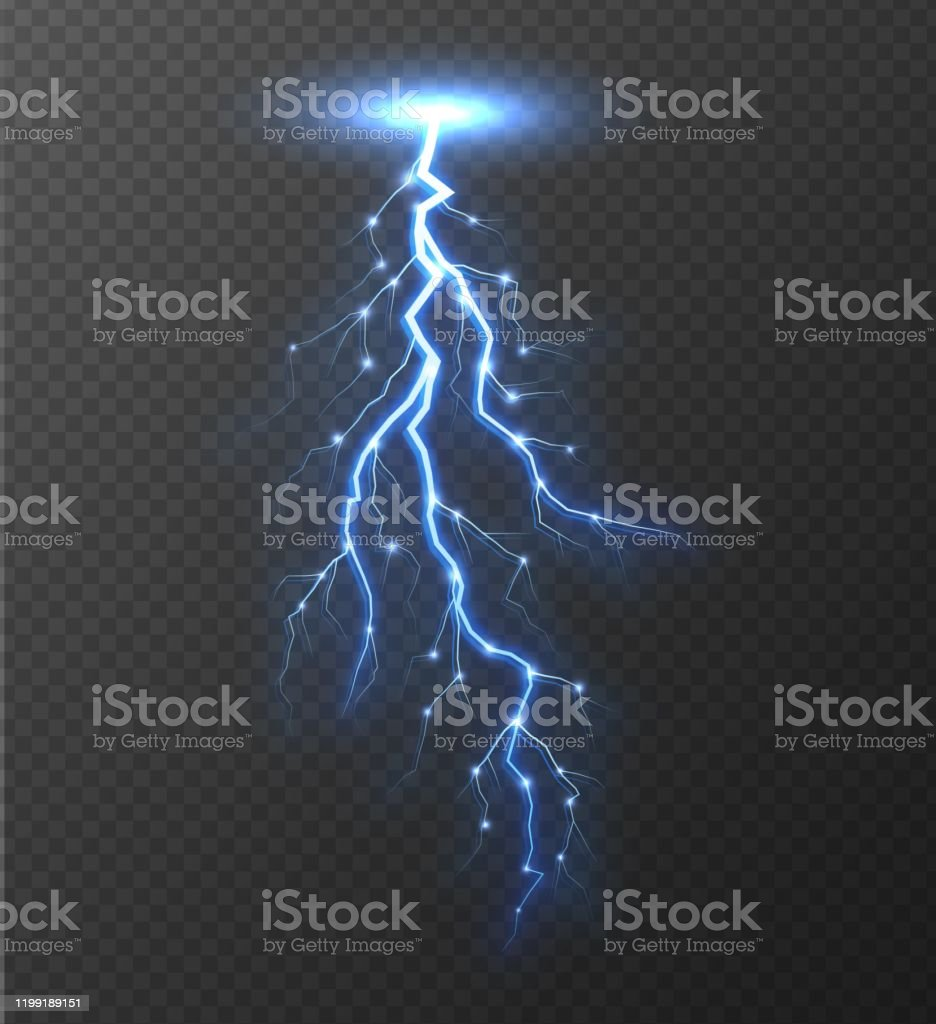 Realistic Lightning Bolt Isolated On Transparent Background Stock Illustration Download Image Now Istock