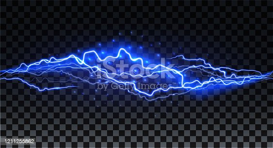istock Realistic lightning. Thunder spark light on transparent background. Illuminated realistic path of thunder and many sparks. Bright curved line. 1211255862