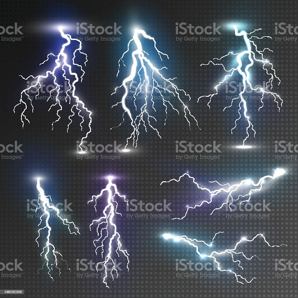 Realistic lightnings set vector art illustration