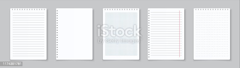 istock Realistic lined notepapers. Blank gridded notebook papers for homework and exercises. Vector paper sheets with lines and squares 1174351781