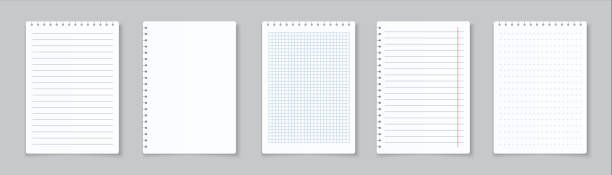 Realistic lined notepapers. Blank gridded notebook papers for homework and exercises. Vector paper sheets with lines and squares vector art illustration
