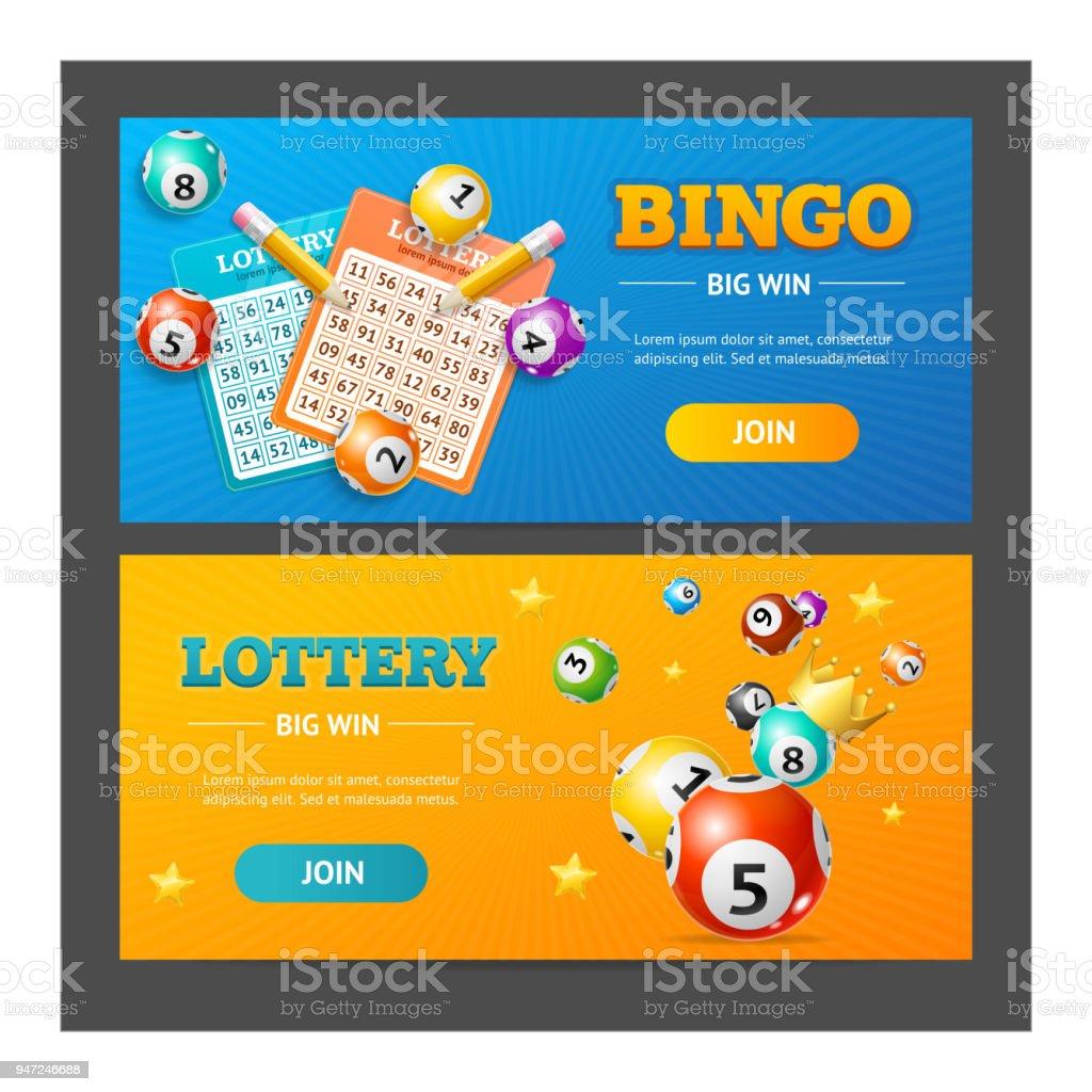 Lotto realista Banner Horizontal conjunto. Vector de - ilustración de arte vectorial