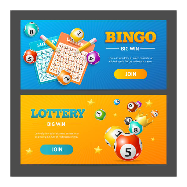 Realistic Lotto Banner Horizontal Set. Vector Realistic Detailed 3d Lotto Game Banner Horizontal Set Place for your Text. Vector illustration of Banners Lottery bingo stock illustrations