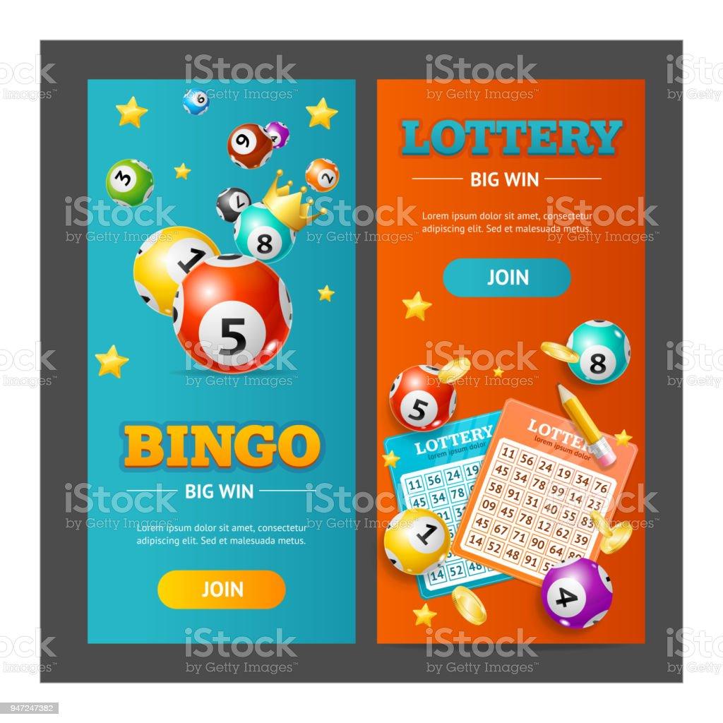 Lotto realista Banner Vertical conjunto. Vector - ilustração de arte em vetor