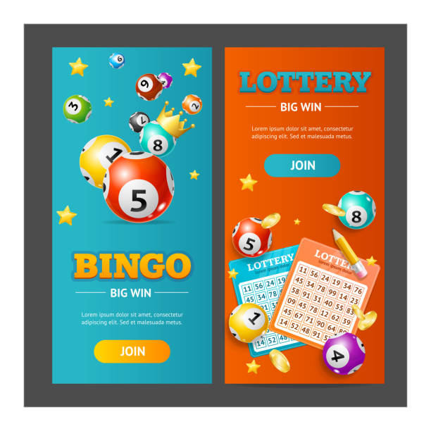 Realistic Lotto Banner Vertical Set. Vector Realistic Detailed 3d Lotto Banner Vertical Set for Web and App Design. Vector illustration of Banners Lottery Leisure bingo stock illustrations