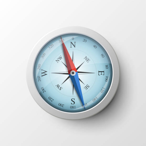 realistic magnetic compass - compass stock illustrations