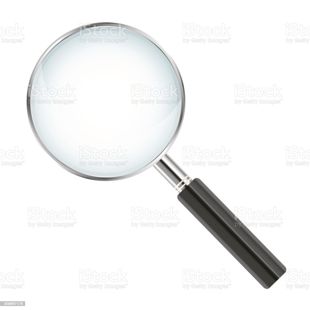 Realistic magnifier isolated on white background - vector illustration vector art illustration