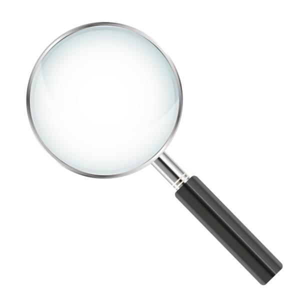 realistische lupe isoliert auf weißem hintergrund - vektor-illustration - lupe stock-grafiken, -clipart, -cartoons und -symbole