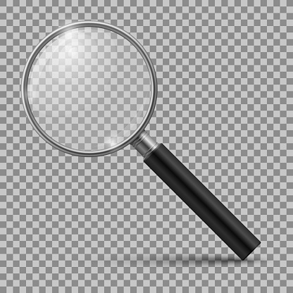 Realistic magnifying glass. Magnification zoom loupe, scrutiny microscope magnify lens. Detective tool isolated mockup