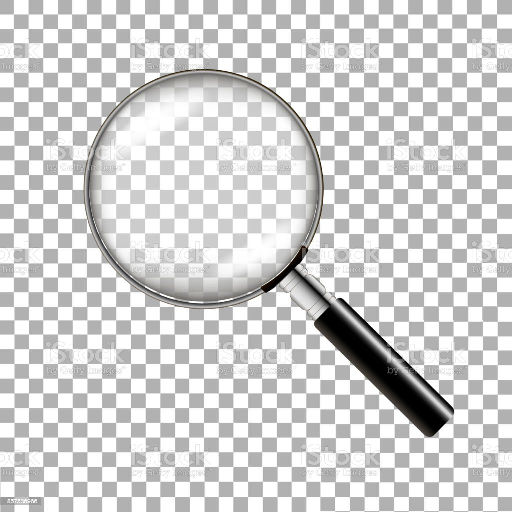 Realistic magnifying glass on transparent background. Vector illustration vector art illustration