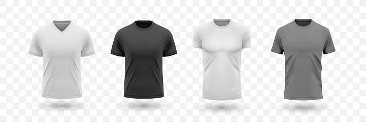 Realistic male shirt mockups set collection