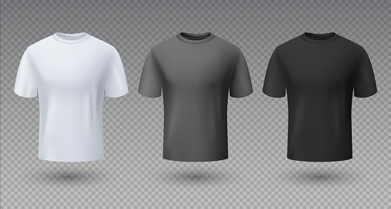Realistic male shirt. White black and gray t-shirt 3D mockup, blank isolated template, sport clean unisex clothing. Vector uniform