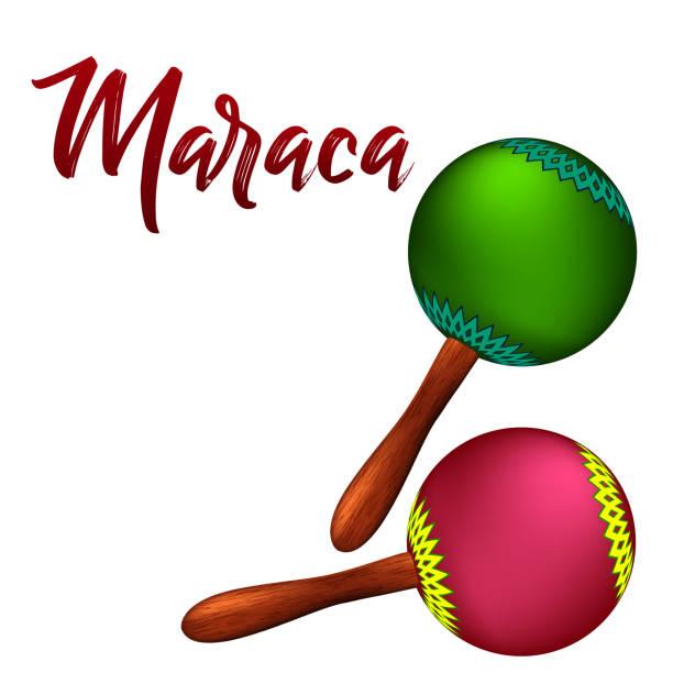 Realistische Maracas. Vektor-Illustration auf weißem Hintergrund – Vektorgrafik