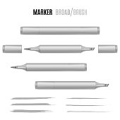 Realistic marker vector illustration. Double-sided marker. EPS 10