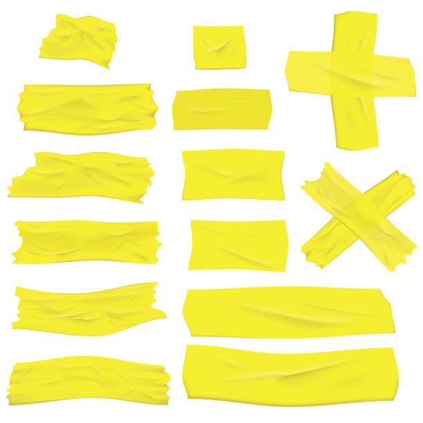 Realistic Masking Tape Design Element Mockup Vector illustration. Realistic greenish yellow masking tape isolated on white masking tape stock illustrations