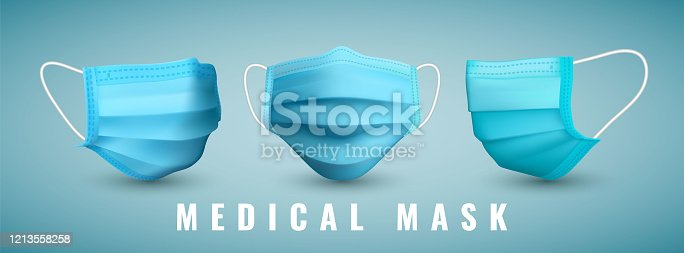 Realistic medical face mask. Details 3d medical mask. Vector illustration