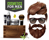 Realistic poster with male cosmetics for hair and beard vector illustration