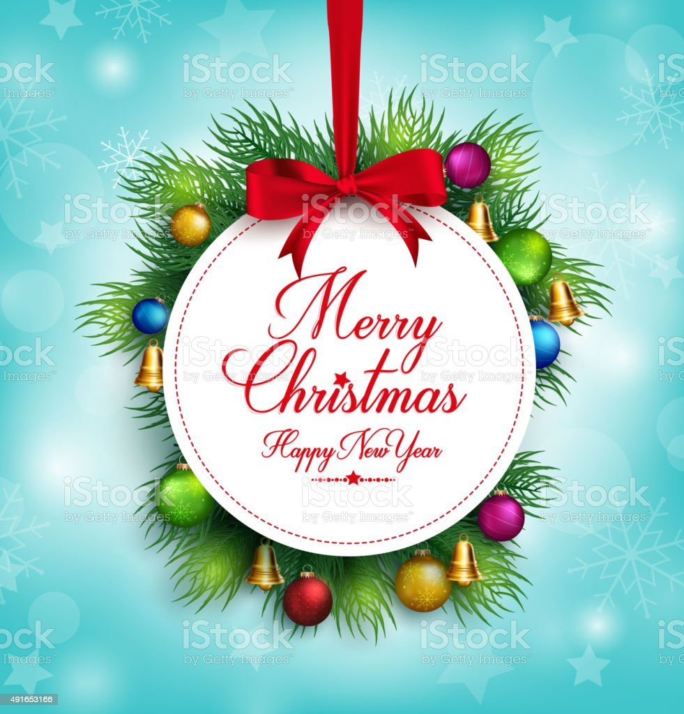 3d Realistic Merry Christmas Greetings Title Hanging In Snow Stock